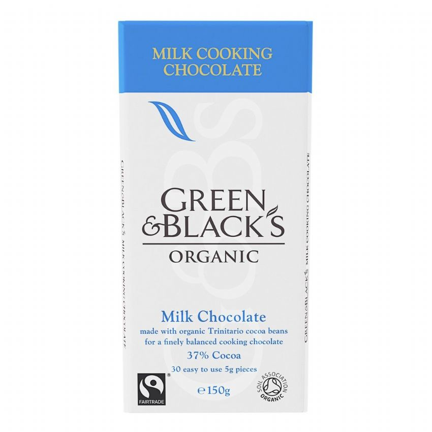 Milk Cooking Chocolate 37% Cocoa - Green & Black's Organic 150g VAT FREE